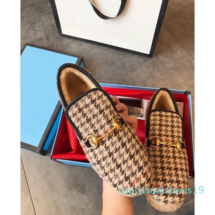 Фирменных Женщины Horsebit текстурированной Шерсть Loafer Ткань Midsole Flat Главная Обувь Deisgner Lady Check Tweed Walking бездельника с коробкой T19