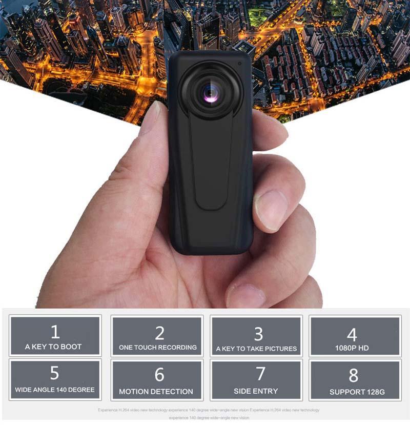 Mini macchina fotografica di trasporto con rilevazione di movimento, Sport DV portatile Camera Polizia Camera Security Guard, 140 gradi Audio Video Recorderr