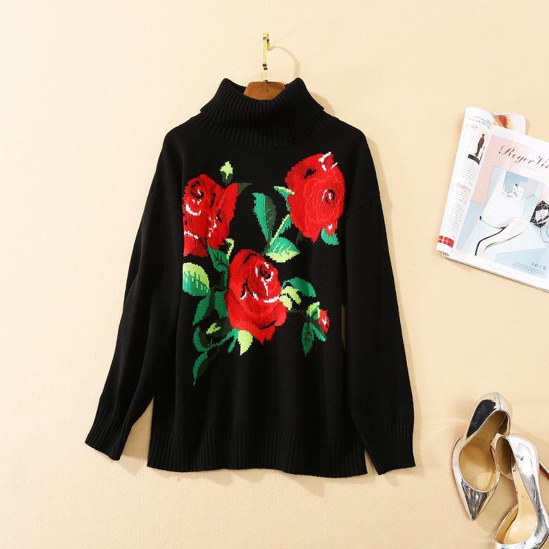 vêtements pour femmes européennes et américaines 2020 automne nouveau style à manches longues col roulé pull en tricot noir imprimé de fleurs