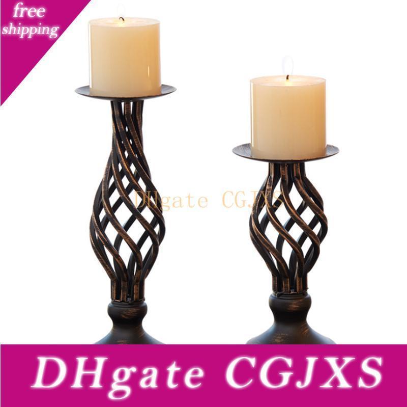Titulares Preto Europa Vela Metal Ferro Candlestick Para Candelabra suporte Pillar Candelabra Início Decoração do casamento