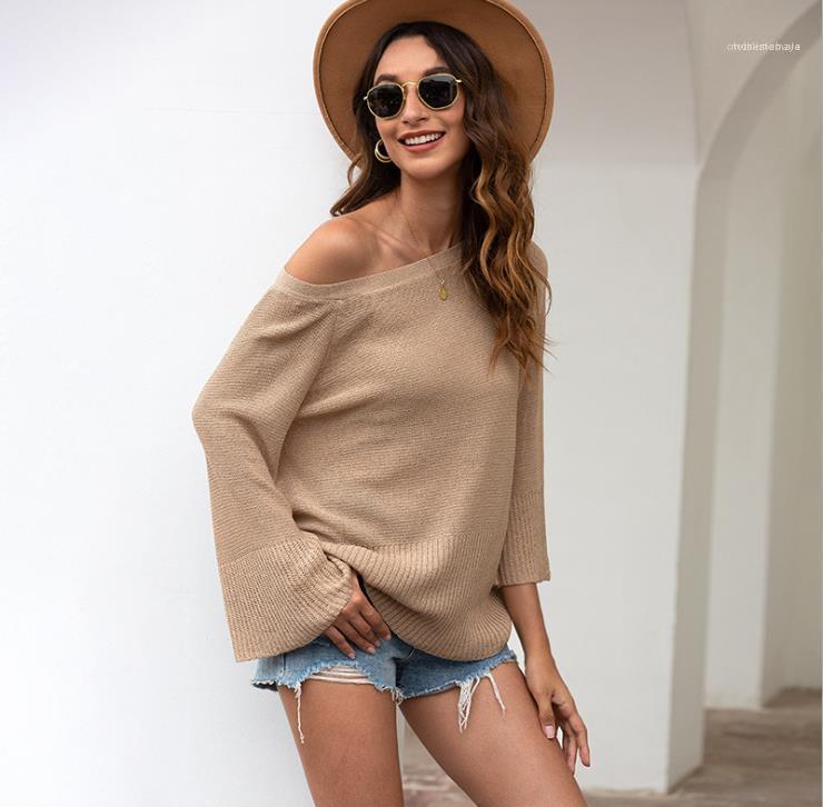Tapas ocasionales de las mujeres sin respaldo Tejidos arco atractivo Mujer Primavera sólido suelto de la llamarada de la manga de las mujeres de moda Pullover