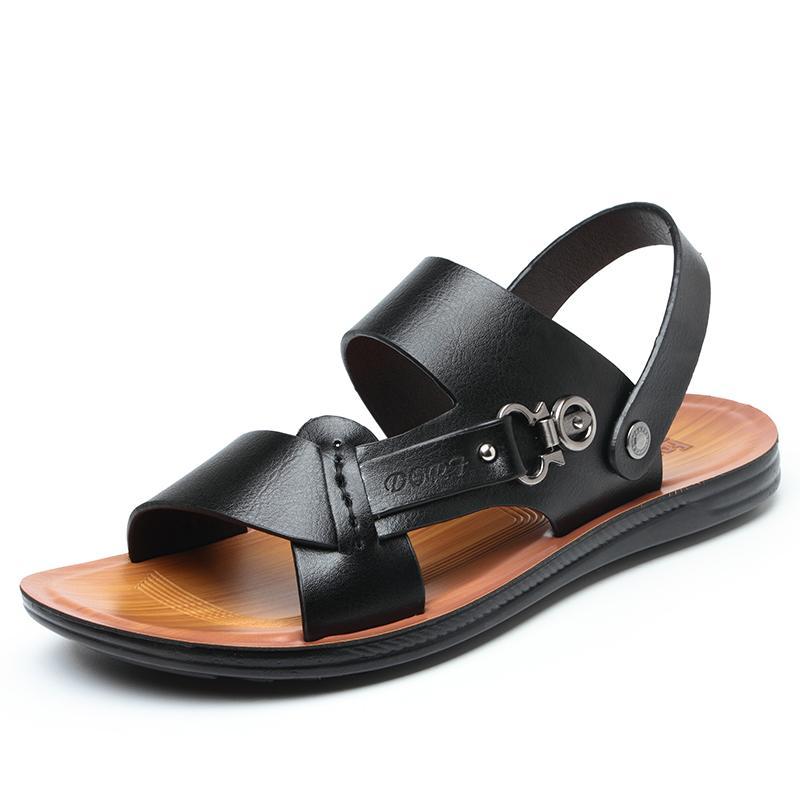 Сандалии нескользящие мягкие нижние открытые пляжные тапочки мужская кожа 2021 и повседневная летняя сандалия