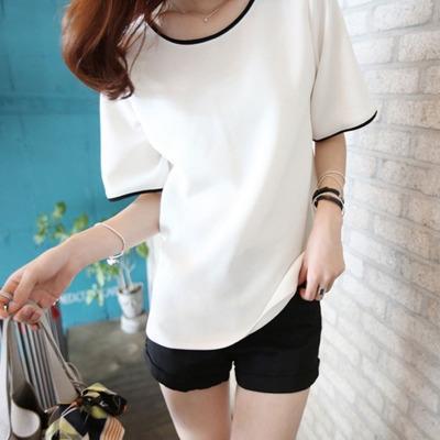 iFMjV 2019 verano nuevo t de Student parte superior de manga corta de Corea del estilo del color sólido de gran tamaño de la base de la clase de ropa ropa ropa de la camiseta de las mujeres