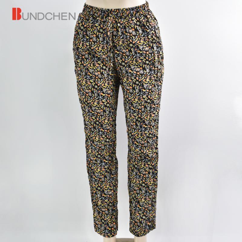 Diseñado de las nuevas señoras de la impresión floral largo Pantalones playa de los trajes de las mujeres ocasionales Inicio Pantalones