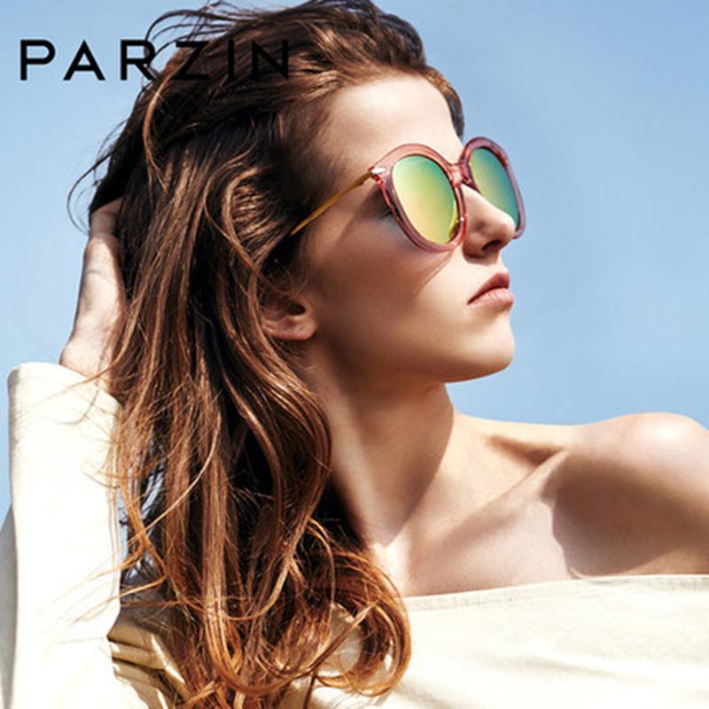 PARZIN Polarized Women Sunglasses TR90 Round Frame Driving Eyewear Retro Sunglasses Classic Fashion Quality Shield Anti UV400