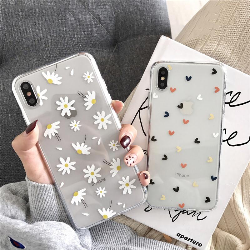 Chiaro Custodia per telefono iPhone 11 6 6s 7 8 più 11 Pro cause XS Max XR X cuore di amore di fiori della margherita morbido silicone cover posteriore