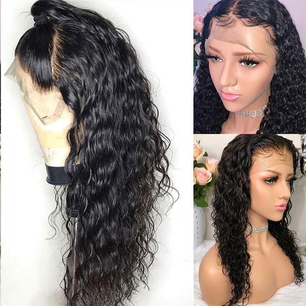 perucas 4x4 frouxo laço da onda do fechamento do cabelo humano perucas baratas solto profunda Glueless frontal peruca completa End baratos Remy brasileira