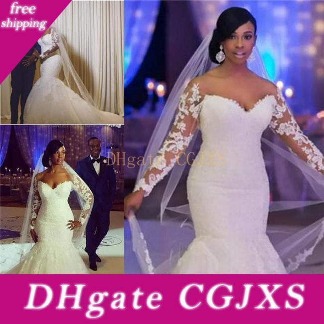 Vestido de novia sin espalda de boda del tamaño más vestidos de África del hombro de manga larga de encaje con cuentas Apliques personalizada sirena vestidos de boda