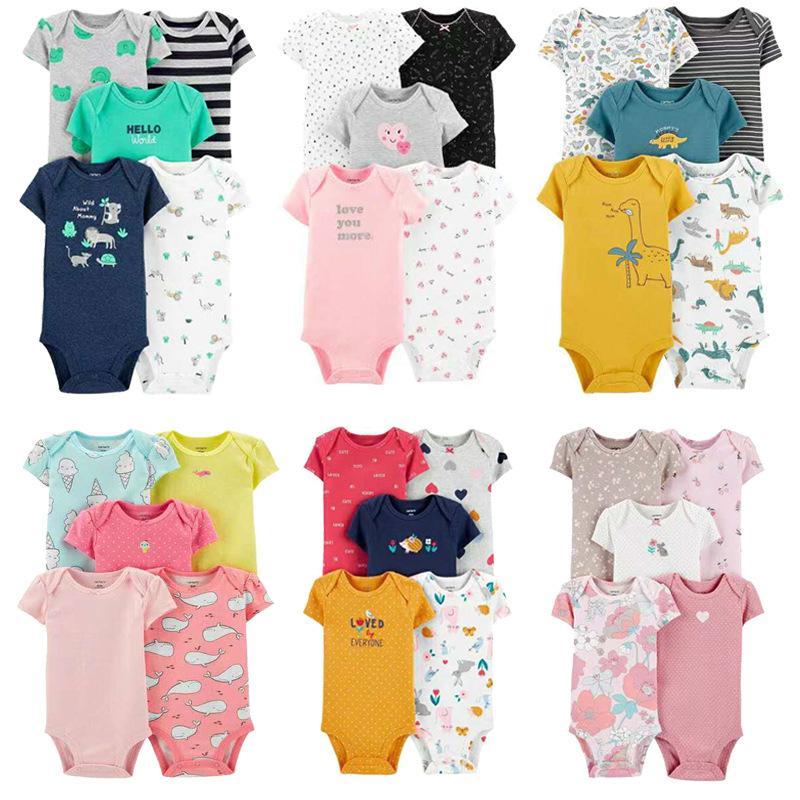 2020 5 adet beş parça bebek osuruk romper romper giyim yaz yeni bebek pamuk kısa kollu üçgen çocuk