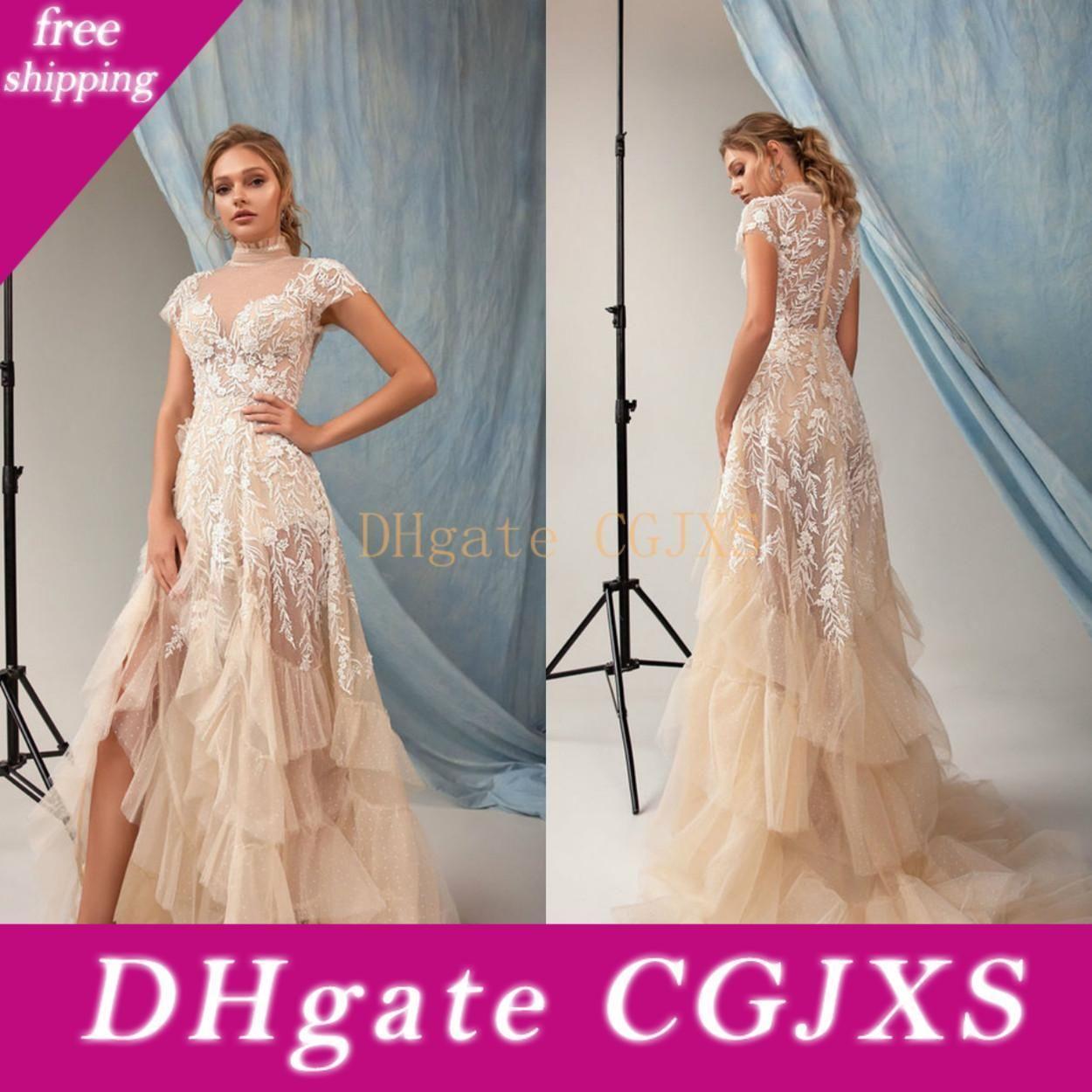 Eva Lendel Wedding Dresses High Collar Short Sleeve Lace Appliques Beads Bridal Gowns Custom Made Sweep Train A -Line Wedding Dress
