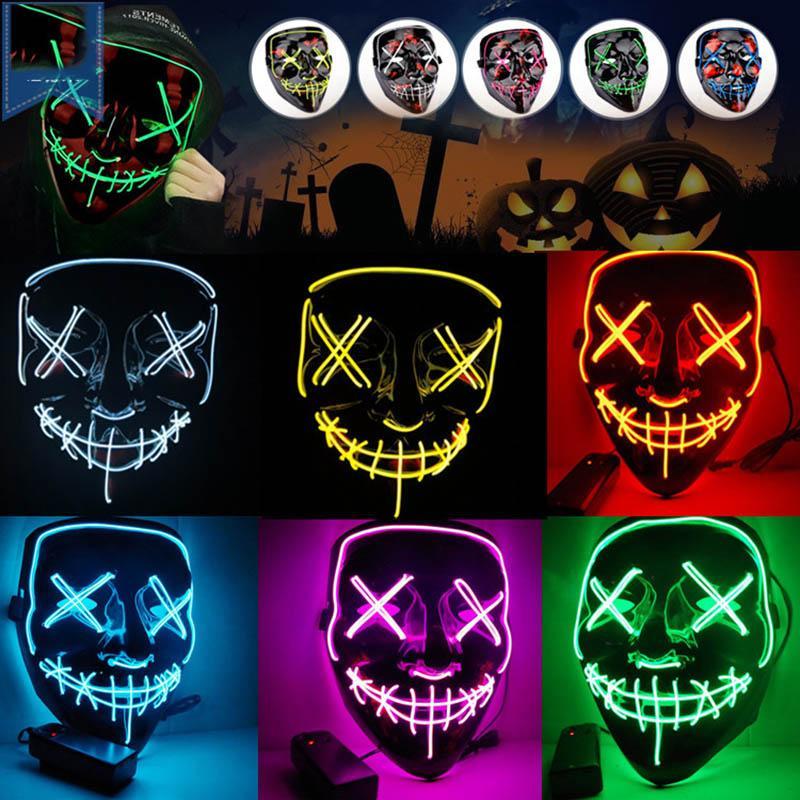 Maschere mascherine di Halloween divertente Mascherine del partito luce creativa Light Up Neon Cosplay Costumi Strumenti Horror Glowing Danza maschera LED per gli uomini adulti Bambini