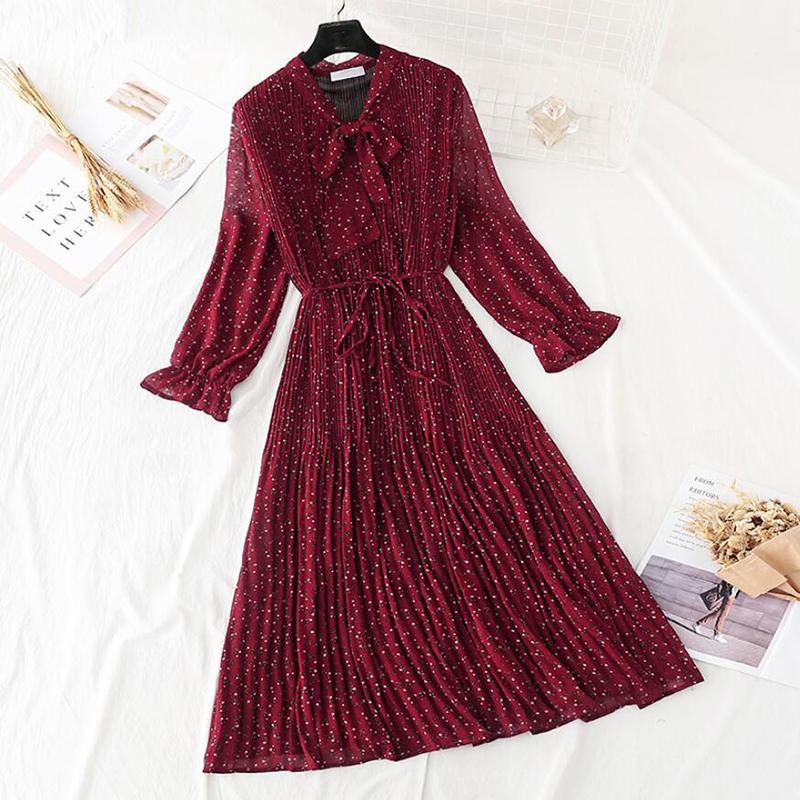 Abiti casual 2021 Elegant Women Dress Dress Vintage Bow Polka Dot Stampa Allentato Midi Femminile Ruffles Pieghettato Chiffon Vestidos