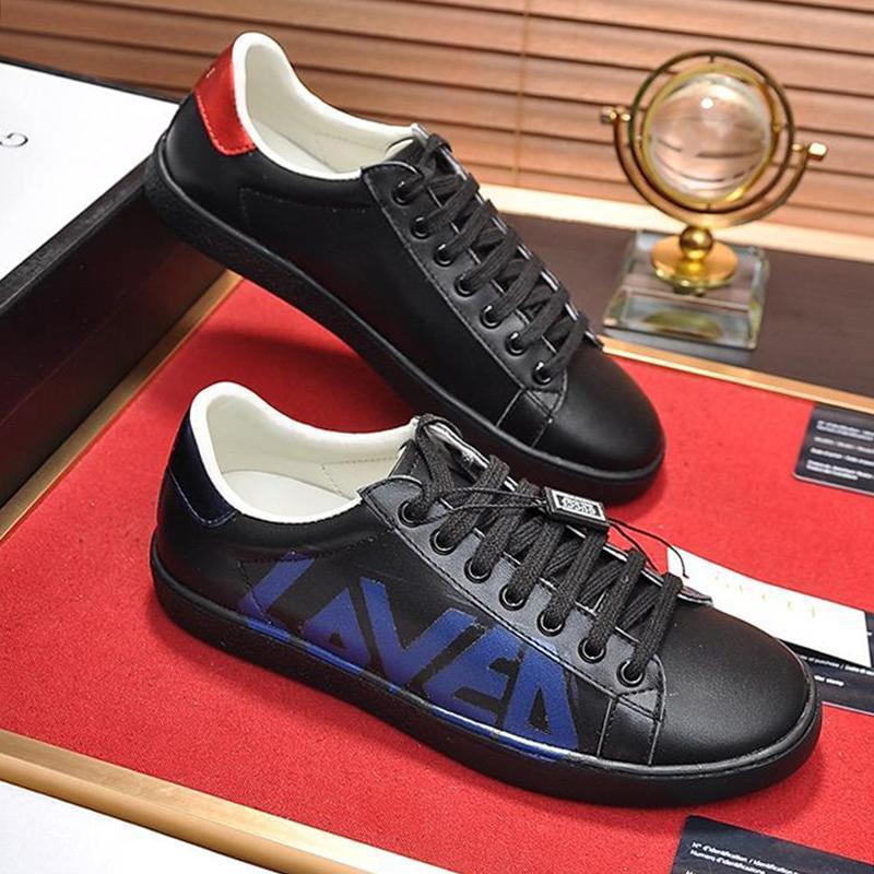 Mens Ace sapatilha com os entes impressão Mens Sapatos clássicos moda de luxo Shoes Vintage Leather Shaspet Plus Size Casual Shoes Rápido D