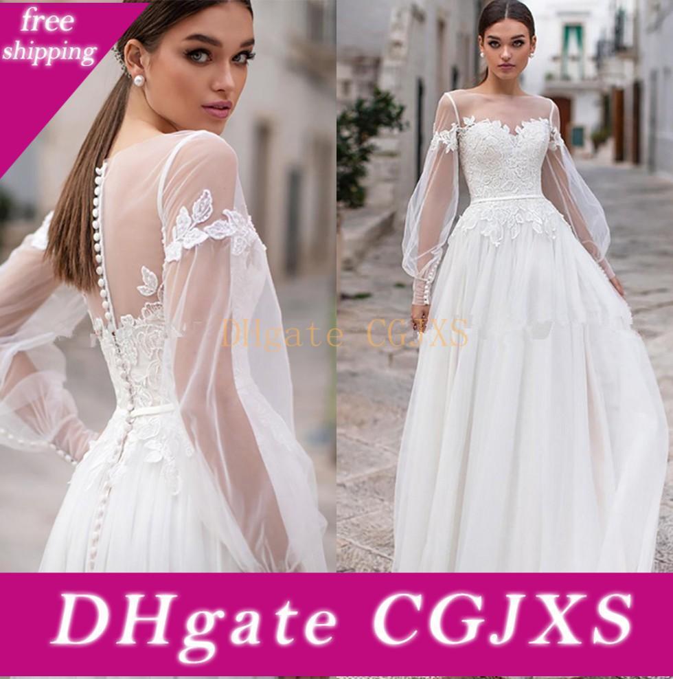 Modeste Manches longues en dentelle Bohême robes de mariée Sheer Jewel Neck Lace Une ligne de mariage Appliques Robes de mariée avec des boutons