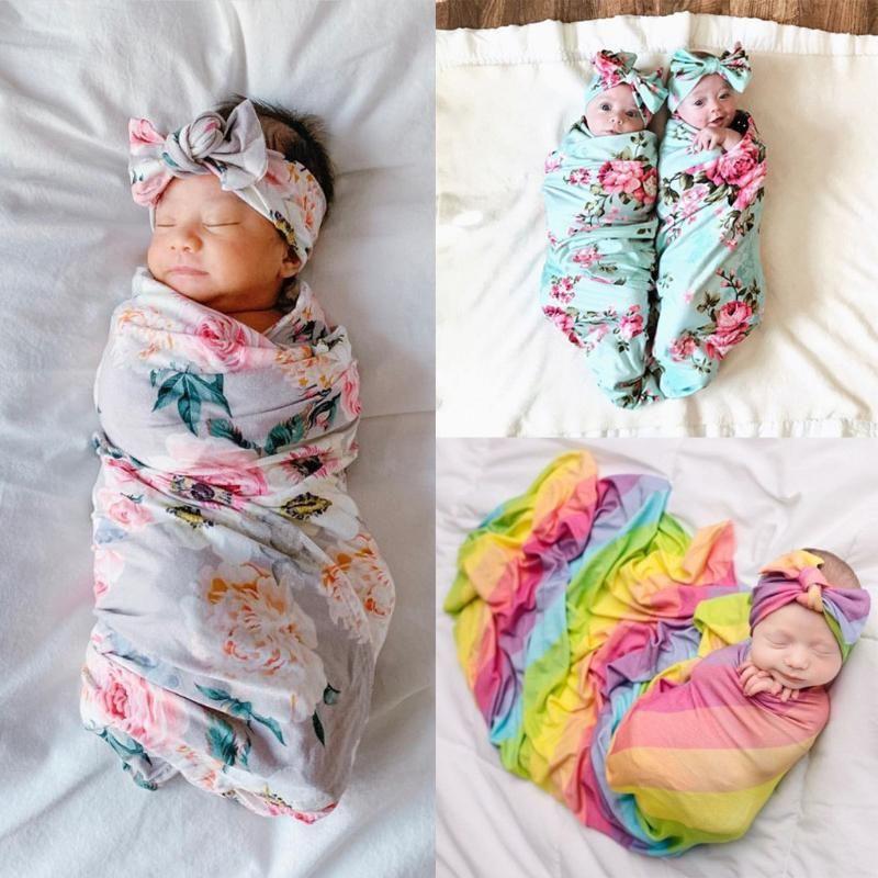 2020 recién nacidos para niños muchachas de los bebés estirable de empañar Manta toalla de baño adorable bebé recién nacido floral de la tela escocesa de empañar Conjunto