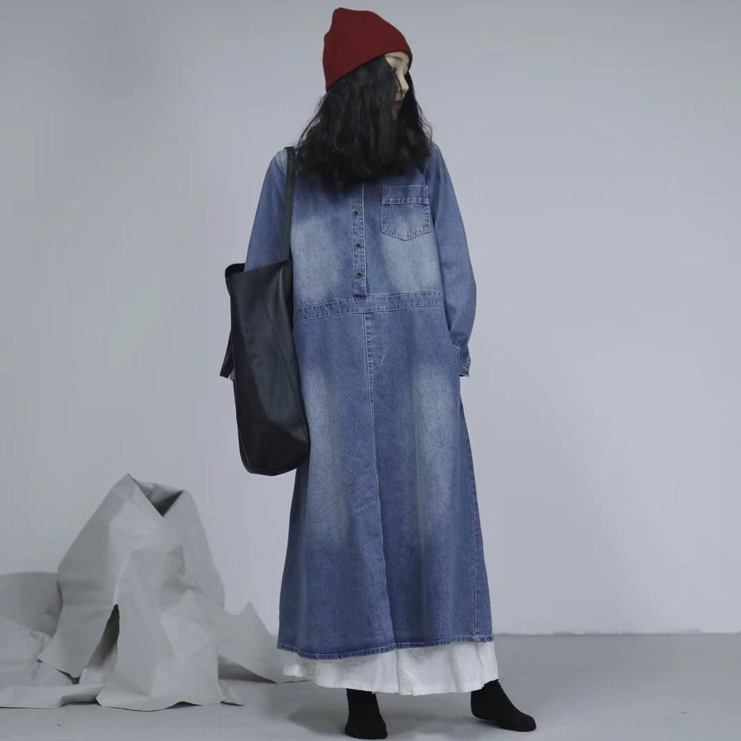 iGcZi QhyTU falda de gran tamaño sueltos nueva primavera de mezclilla larga 2019 de la moda de las mujeres que adelgaza vestido de las mujeres largas de la falda