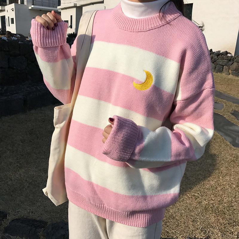 Женские свитера Kawaii Ulzzang колледжа Ветер Candy Contrast Полосатый Moon свитер Женский Корейский Harajuku Одежда для женщин