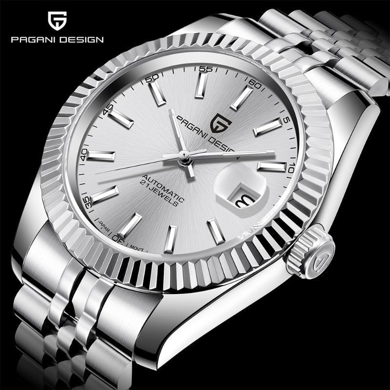 Negocios relojes automáticos PAGANI hombres del diseño del reloj de las marcas de lujo de acero inoxidable resistente al agua reloj mecánico Relogio Masculino