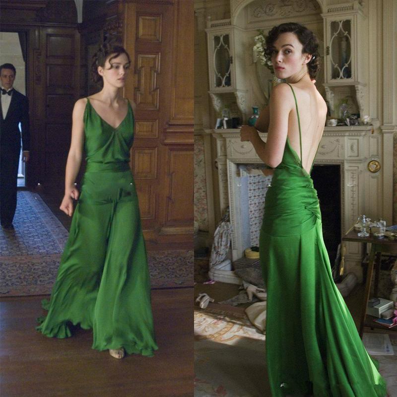 Schöne grüne Abendkleider auf Keira Knightley aus dem Film Atonement Gestaltet von Jacqueline Durran Langer Berühmtheit 2021 prom Kleid