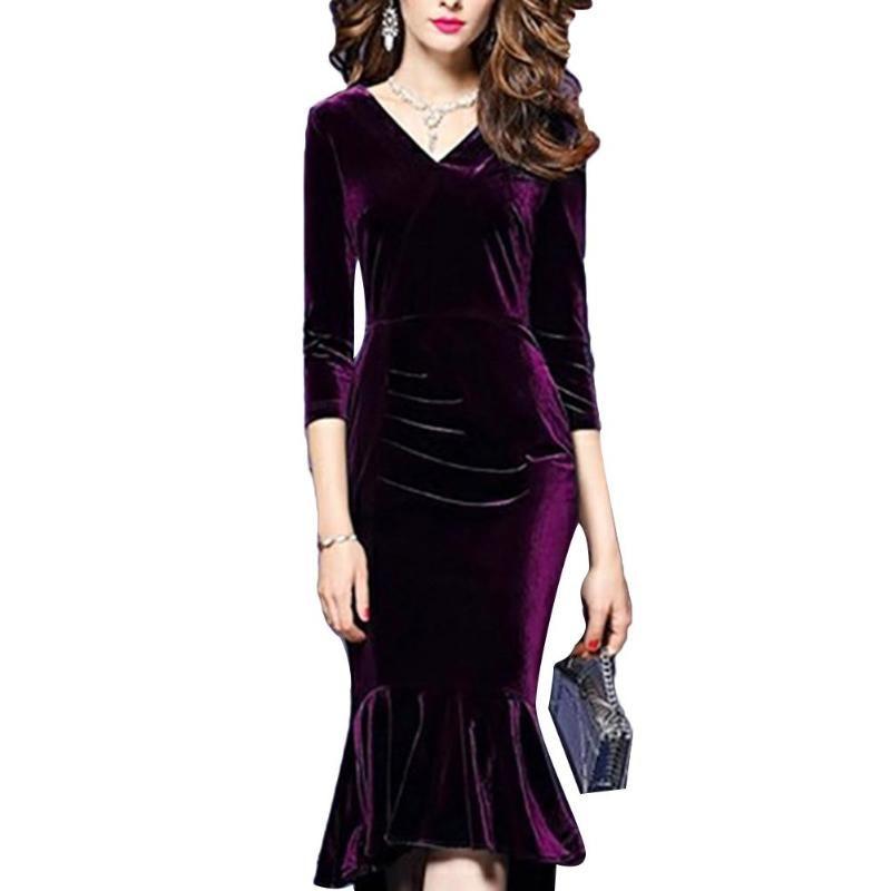 Sexy vestido de las mujeres con cuello en V manga 3/4 Pleuche bodycon del partido Vestido a media pierna de baile vestido 2020 Nuevo