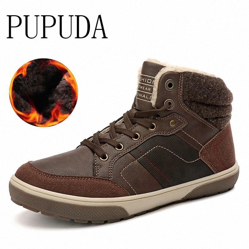 PUPUDA Winter NEU Schnee Stiefel Herren Trend beiläufige hohe Spitzenschuhe Male im Freien Fur warme bequeme wasserdichte Turnschuhe Herren Boots No 7 Stiefel 9j8o #