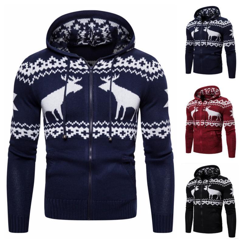 dos homens Brasão camisola do Natal Sweater Zipper Cervos do inverno Coats Casual com capuz camisola de malha Coat para homens