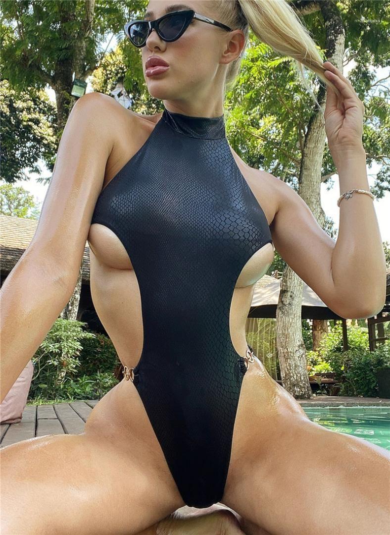 Pedaço Swimwear Sexy Halter Backless Swimwear Moda cor sólida refletir a luz Swimsuit Mulheres Designer Serpentine One