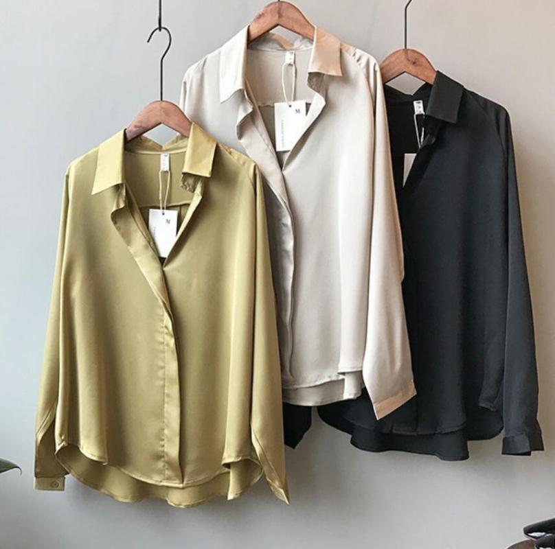 HSTAR 2020 Осень женщин корейской моды Длинные рукава атласная блузка Винтажная Femme V шеи Street рубашки Элегантный шелковую блузку