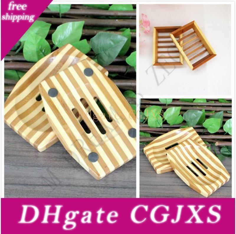 Savon en bambou naturel en bois savon en bois Plateau Porte-savon Plaque de stockage Rack Container Box pour le bain Douche