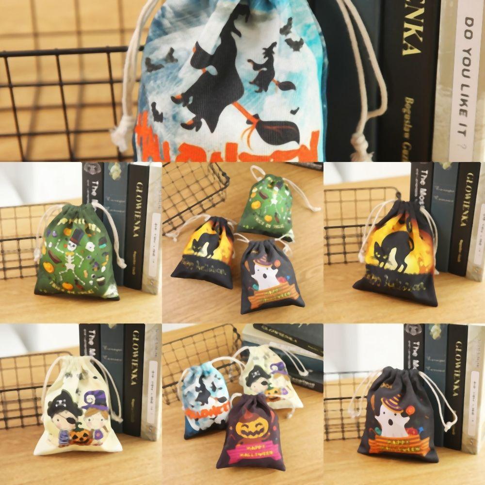 XFRIo Tragetasche Spinnen-Kürbis-Leinwand Halloween-Taschen Personalisierte Halloween Bucket Trick or Treat Kürbis Hexe Taschen Süßigkeit Dekoration Geschenktüte