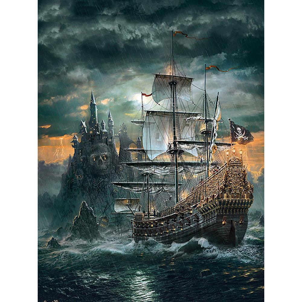 """Plena plaza / Ronda taladro de bricolaje 5D diamante Pintura """"Cráneo barco pirata"""" bordado de punto de cruz 5D Decoración de regalos"""