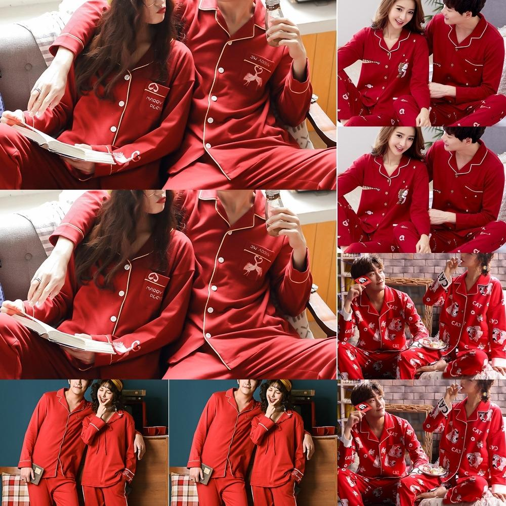 CzOYf 7W8UI dress and Autumn couple pajamas women's cotton long-sleeved for the year of life men's home wed Formal Spring home clothes red cl