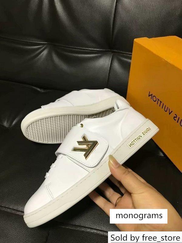 Top qualité Femmes Lettre Boucle métal blanc Chaussures de sport Casual cuir véritable FRONTROW SNEAKER 1A3T9U 35-42 avec la boîte