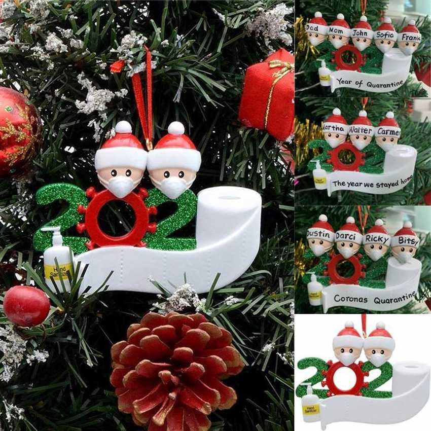 24H корабль Карантин Рождество рождения партия украшение подарки продукт персонализированный семьи из 4 Украшения Pandemic социального дистанцирования