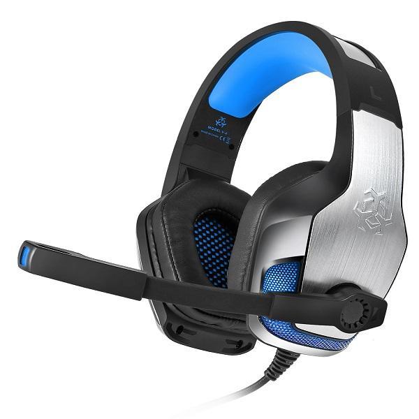 Metal jogo auricular Deep Bass Jogo Headphone Stereo Over-Ear Gaming Headset Headband fone de ouvido com MIC Luz para computador PC Gamer