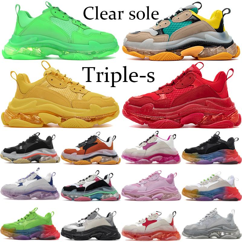 أزواج واضحة وحيد الثلاثي الصورة احذية رجال نساء الثلاثي الأخضر النيون الأصفر أحذية أسود أبيض 17FW الأزياء منصة الصالة الرياضية حذاء أحمر أزرق