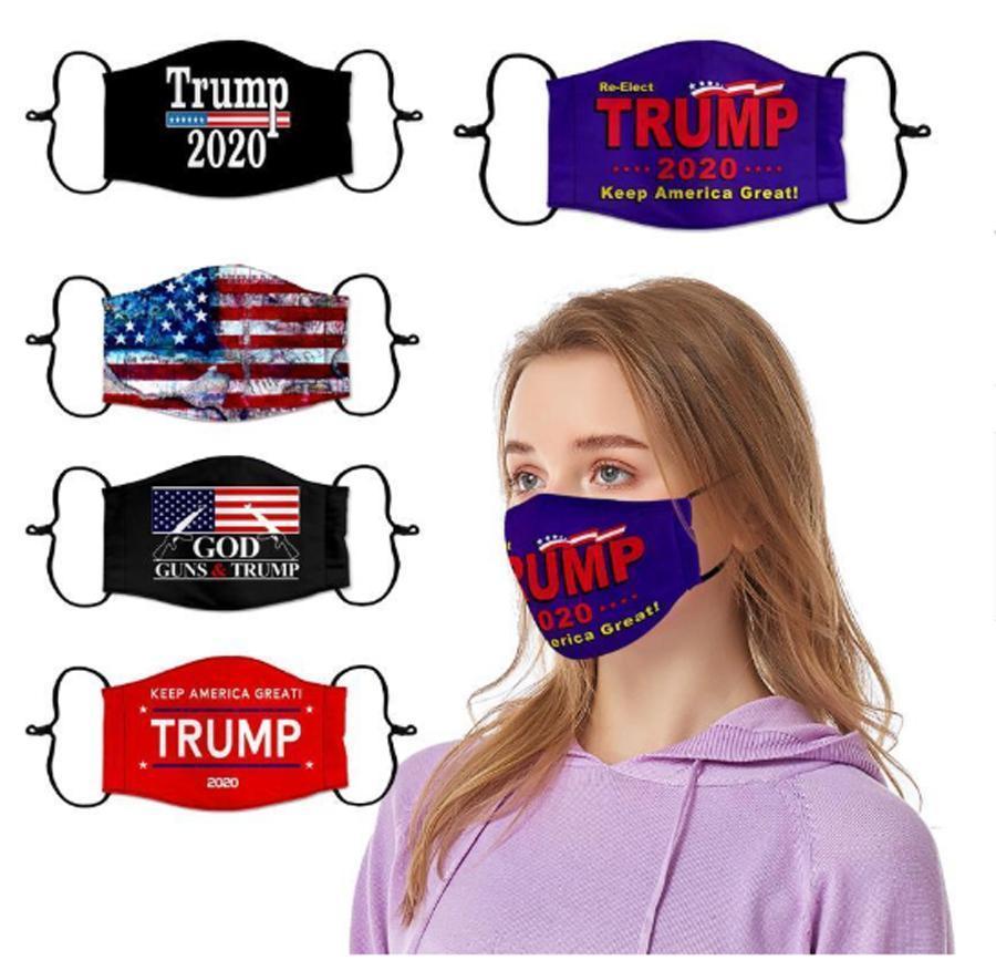 En Stock 10 estilos Máscaras Trump Cara 2020 máscaras a prueba de polvo elección americana camuflaje protectores de EE.UU. bandera de la manera algodón de la cara Máscaras FY9161