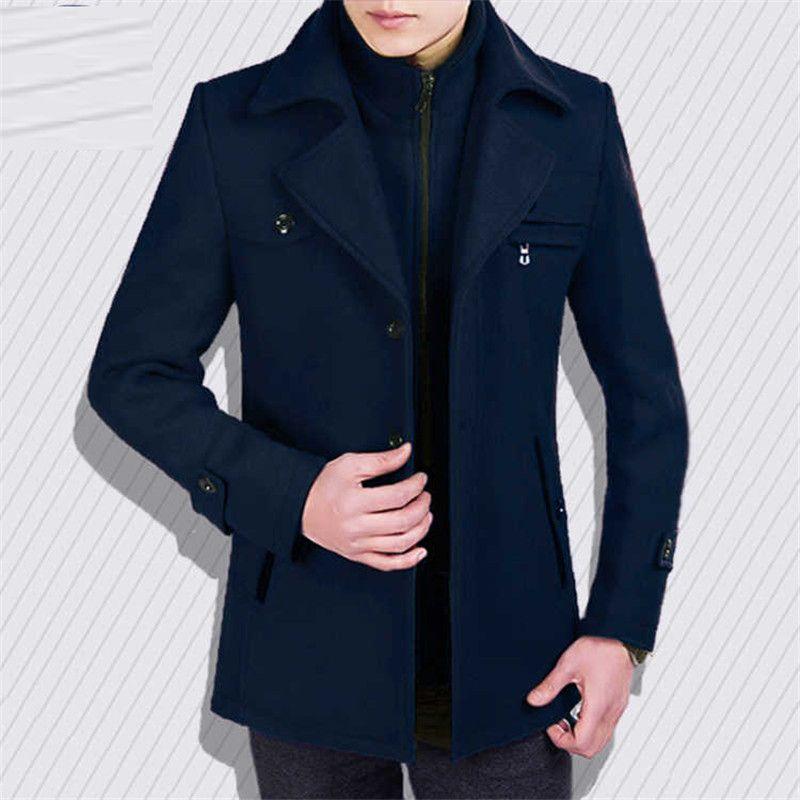 يمزج الصوف الرجال 2021 الخريف والشتاء معطف متوسطة طويلة الصوف سترة وهمية الرقبة ضئيلة زائد القطن سميكة
