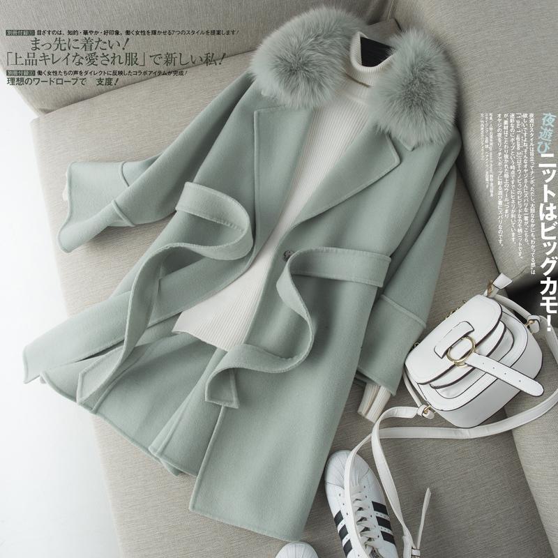 2020 100% lana cappotto femminile Double-sided Giacca in lana collo in pelliccia Primavera Autunno coreano cappotto lungo soprabito delle donne 2021 KJ4049