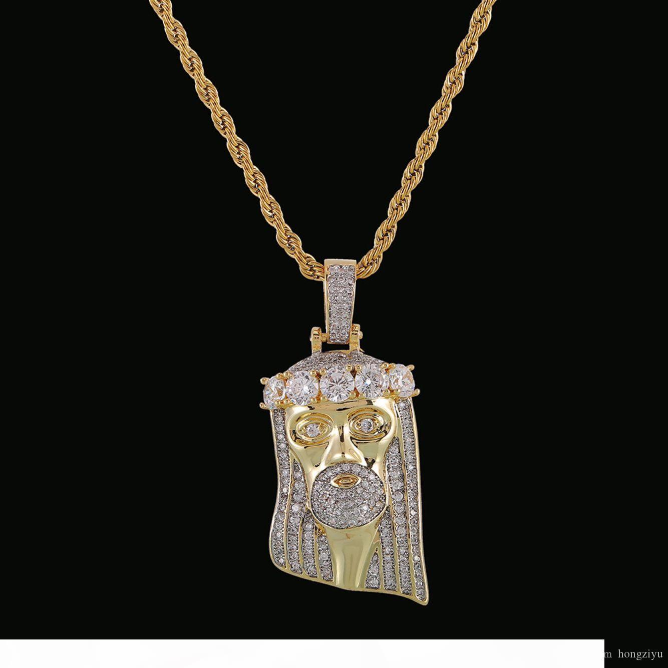 Hot Vendeur religieux Hip Hop de Jésus collier pendentif hommes Bijoux gratuit Corde Chaîne de couleur d'or bling cubique Zircon pour cadeau