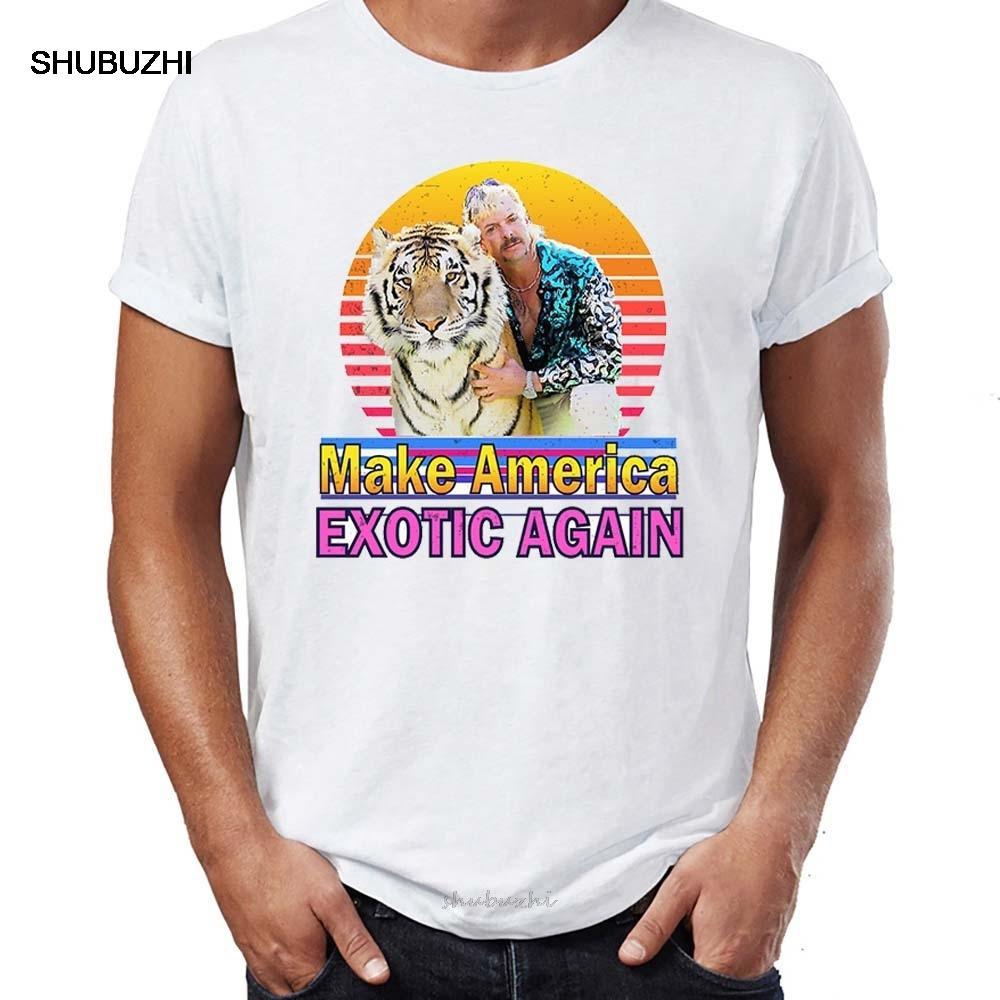 Camisa do T dos homens do tigre Rei Joe Exotic Obra de arte impressa Tee Verão New Cotton T-shirt Men Summer Fashion T-shirt Euro Tamanho