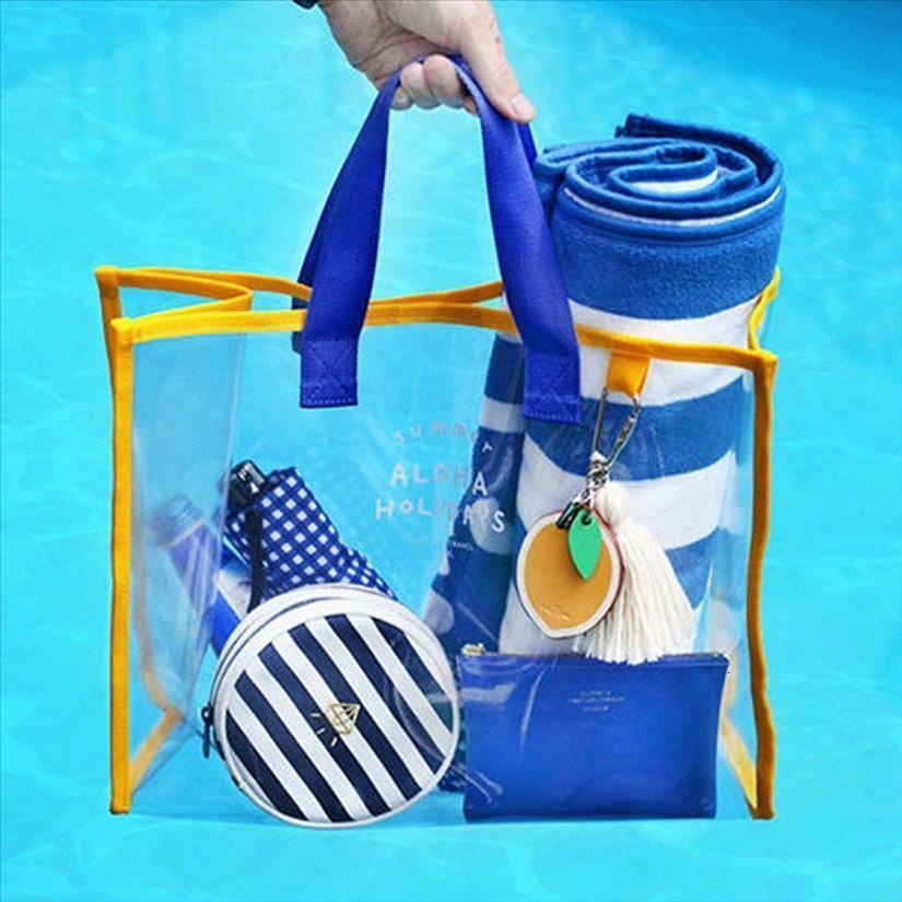 Nuovo- Nuova Estate PVC trasparente Piscina Fashion Bag Esterni Beach Climbing borsa Yy