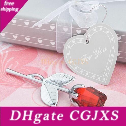 6 modèles Favors Crystal Rose Party Favors avec boîte colorée cadeaux de mariage romantique bébé Douche Souvenir Ornements pour les clients