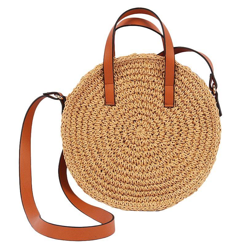 Moda feminina Shoulder Bolsas de palha Sacos Bolsas de praia Circular Luz Vintage Grande Capacidade