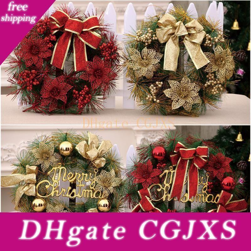 Christmas Decoration For Home Christmas Wreath Ornaments Xmas Party Snowflake Santa Claus Elk Happy New Year Decor Jxw424