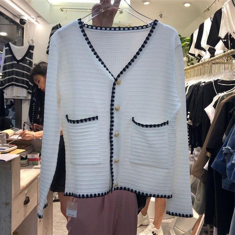 Herbst dünn für Frauen 2020 anmutigen hohe Taille dünner Sitz kurze Einreiher Eis silk Strickjacke Top Coat Mantel modische gestrickte lqdmG