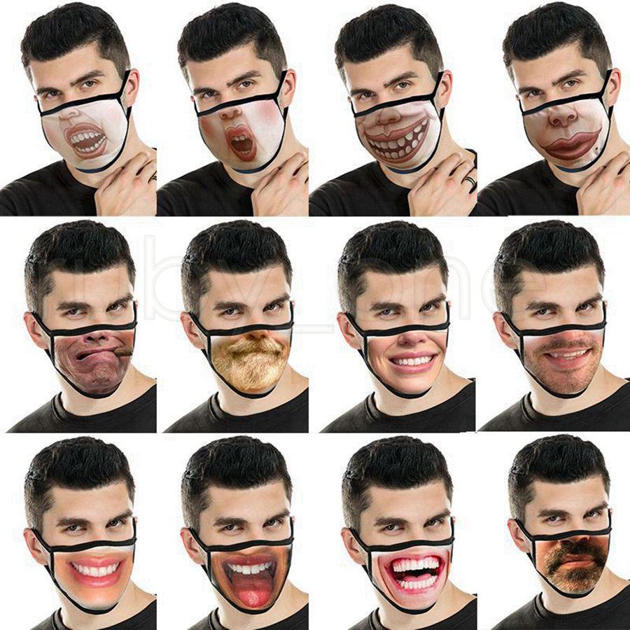 Reusable Expression 3D Printing Cartoon Face Masks Mouth Mask Funny Dustproof Mask Ultraviolet-proof Washable Running Riding Masks RRA3446