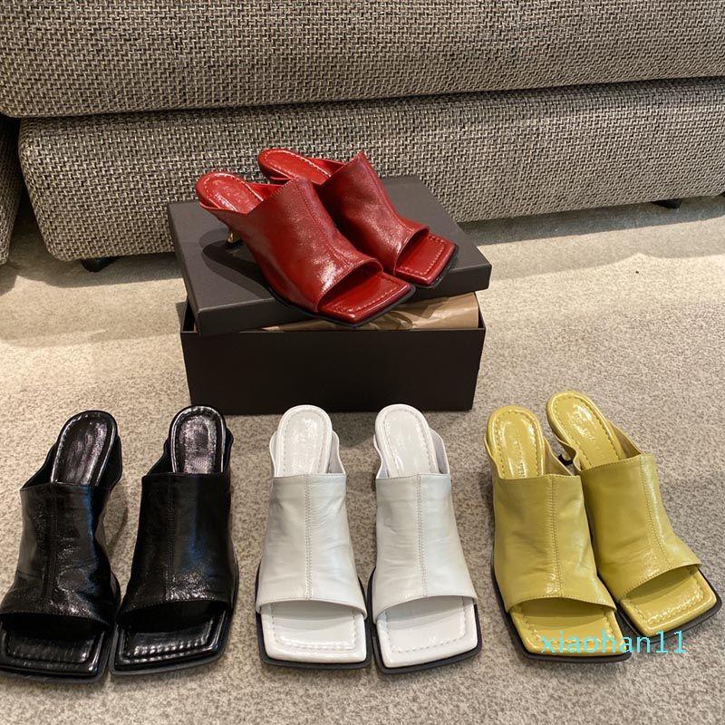 Toe venda- Praça Hot sapatos de salto alto Mulheres chinelos de couro Abra Toe Ladies Beach Party Sandals Slides Shoes