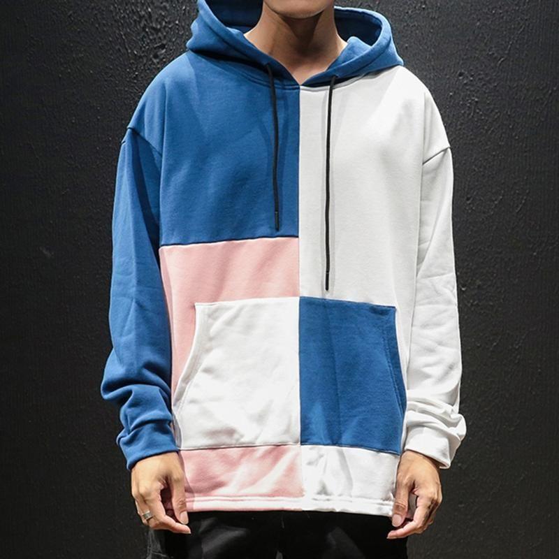 Mens top patchwork outono hoodies streetwear Hip-hop guarda chapéu japonês outwear confortável manga longa estilo de costura hlgfg