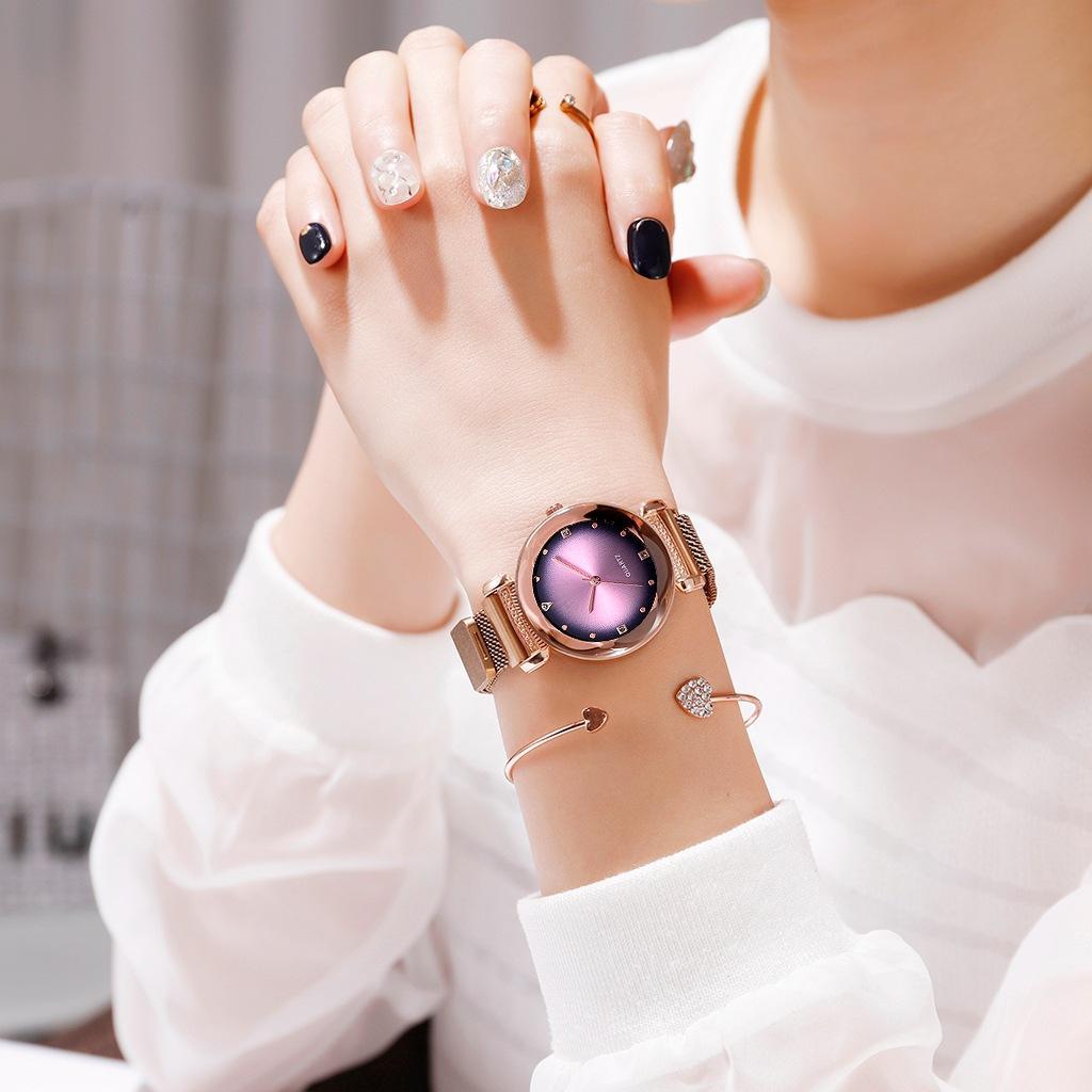 Top Brand Starry Sky montre pour femmes en or rose Mesh Aimant bracelet à quartz Montres gradient pour femmes de la Feminino